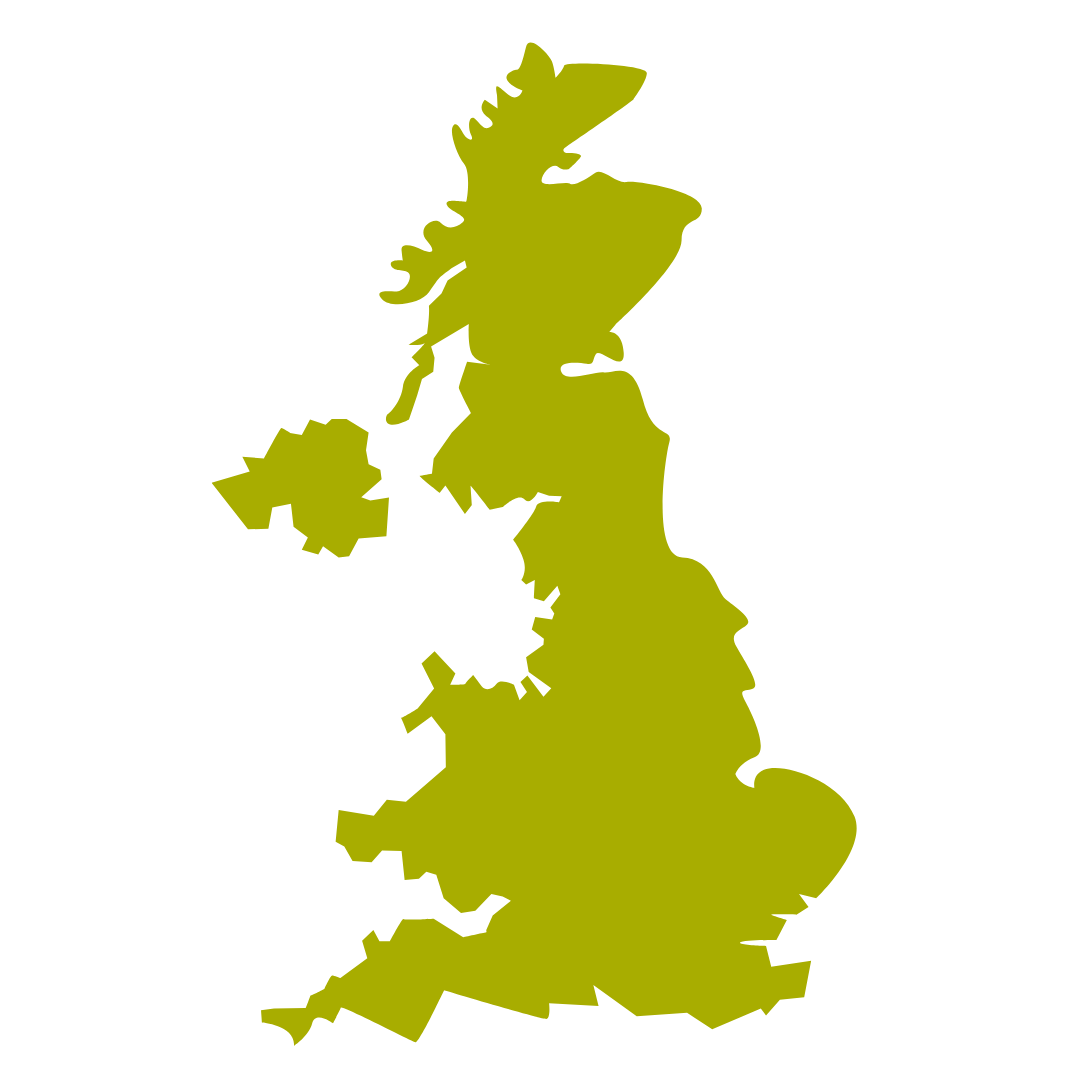 Downland Green Graphic Map of UK